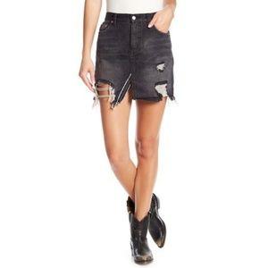 Free People Rexled Distressed Mini Jean Skirt